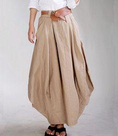Khaki Linen Balloon Hem Skirt, Zeniche