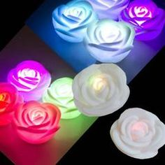 7 Color Changing Rose Flower LED Night Light Candle Xmas DIY Decorate Tea Lamps Online Shopping Usa, House Rooms, Color Change, Create Your Own, Wall Lights, Room Decor, Romantic, Led, Rose
