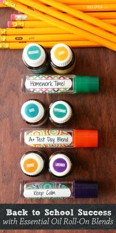 Your kids will love these 3 new personalized essential oil roller blends to stay calm and focused for back to school from RecipeswithEssent...
