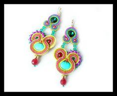Soutache earrings Swarovski crystals turquoise by Mayasbijou €19.43 EUR on Etsy.com