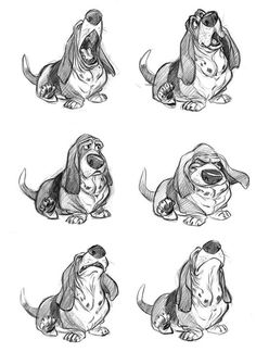 Bassets. Basset hounds just make me happy. Basset hound drawings that look exactly like My boy make me ecstatic.