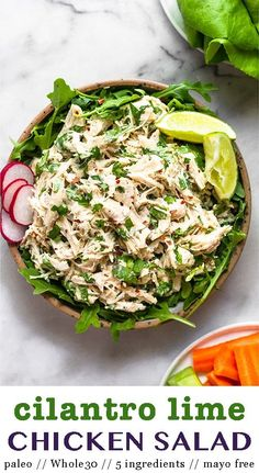 5 ingredients and 5 minutes is all it takes to whip up the cilantro lime chicken salad. Made with shredded chicken, coconut yogurt, lime juice, cilantro, and red pepper flakes, it's quick and easy, light and refreshing, and packed with protein. An easy protein for meal prep that is paleo, dairy free, and Whole30 compliant - Eat the Gains #chickensalad #paleochickensalad #whole30chickensalad #mayofreechickensalad #cilantrolimechicken Whole30 Chicken Salad, Chicken Salad Recipes, Healthy Chicken, Salad Chicken, Healthy Meals, Super Salads, Clean Eating Recipes, Clean Eating Snacks, Paleo Dairy