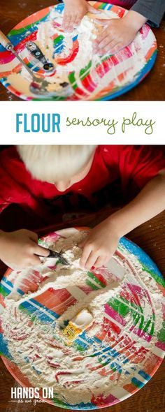 Set up a fun flour sensory play activity for toddlers that's sure to keep them busy! This is a great activity for (messy) quiet time play. Sensory Activities Toddlers, Gross Motor Activities, Outdoor Activities For Kids, Infant Activities, Sensory Play, Toddler Preschool, Toddler Crafts, Toddler Fun, Sensory Bins