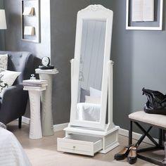 White Full Length Mirror White Mirror Removable Top  - White - 21.5W x 60H in.