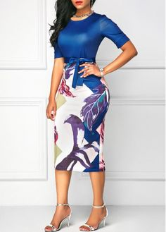 Printed Bowknot Embellished Short Sleeve Sheath Dress | Rosewe.com - USD $31.74