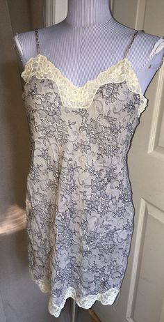 Lady Lynn khaki black lace-print lace trim VINTAGE nightgown lingerie teddy L #LadyLynn