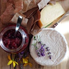 Early summer cheese boards with locally made Bloomfield, Gouda, and Plum Lavender Chutney.