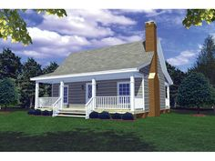 Lanawood Cottage Home from houseplansandmore.com...very cute 2 bdrm/1 bth with cov f & b porch. Also has nice living & kit.