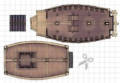 The Japanese Warship / Atakebune, a battle map for D&D / Dungeons & Dragons, Pathfinder, Warhammer and other table top RPGs. Tags: water, fort, base, town, set piece, building, ship, vehicle, eastern, oriental
