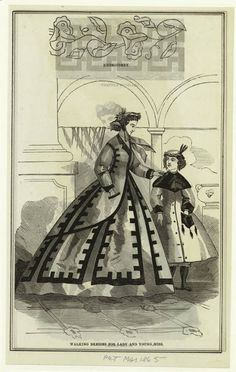 Peterson's Magazine, Walking Dresses for Woman and Child. March 1865. Civil War Era Fashion Plate