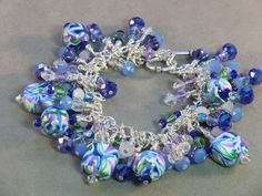 Cobalt blue light blue lavender and pale green by wilywolverine, $86.95