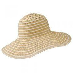San Diego Hat Company UPF 50+ Striped Ribbon Sun Hat (Beige/White)