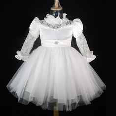 Designer White Taffeta Long Sleeve Flower Girl First Communion Dresses SKU-10501115