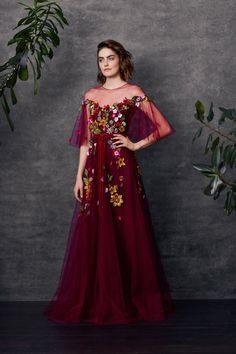 Flutter sleeve beaded tulle gown with velvet ribbon trim