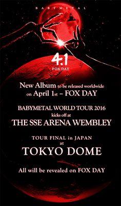 BABYMETAL : 2nd album et tournée mondiale en 2016 avec un final au Tokyo Dome