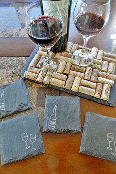Wine Cork Trivet and Wine Night Coasters by Scattered Treasures  #etsy #handmade #winecork #wine #winedecor #etsywedding #coasters #slate