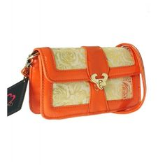 SECURE GOLD  LOCKED ORANGE side bag absolutely beautiful WITH GOLD ROSE PRINTED PATTERN on the surface.  It is easy for everyday use or party wear. A thick leather strap also Included and with pockets inside!( Also available in black).