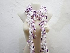 Hand crochet Long Scarf  White Lilac Purple  Mulberry by nurlu, $8.00