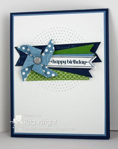 Love the pinwheel & pierced circles in background. Stampin' Up! Birthday by Ritas Creations: