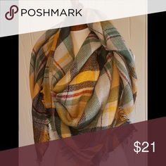 """Yellow & Green Warm Me Up, Scotty Blanket Scarf 30% OFF ALL BUNDLES TODAY ONLY! Super warm and cozy, makes an awesome gift! Available in tons of colors, see my other listings. 45x45"""" Green, yellow, black Accessories Scarves & Wraps"""