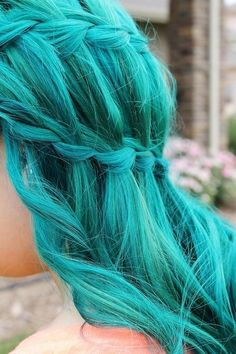 Color Cool Idea Hair Highlights | This teal waterfall braid is great summer hair color @Colby Campbell
