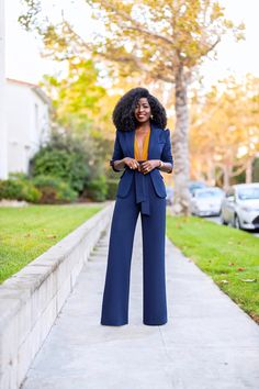 Fitted Blazer + Deep V Bodysuit + Belted High Waist Pants (Style Pantry) Formal Pants Women, Pants For Women, Clothes For Women, Work Fashion, Fashion Pants, Fashion Outfits, Daily Fashion, Stylish Work Outfits, Classy Outfits