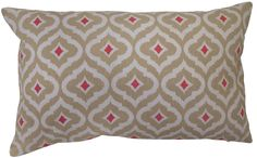 Coral, Tan and White Calais Geo Pillow,12x20, Machine Washable, Self Backed $29.98 #SimplyAbundant #HomeDecor