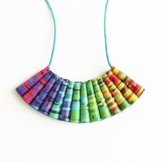 The charming rainbow pendant is made from sustainable paper beads lovingly handcrafted from rainbow colored paper. Paper Earrings, Paper Jewelry, Jewelry Gifts, Paper Beads, Lesbian Gifts, Lesbian Pride, Romantic Gifts For Wife, Polymer Clay Necklace, Handmade Beads