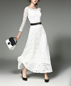 Love this White  Lace-Overlay Maxi Dress on #zulily! #zulilyfinds