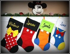 CHRISTMAS STOCKINGS - Disney Inspired Mickey Minnie Mouse Goofy Donald Duck Daisy Pluto Personalized Embroidered Family