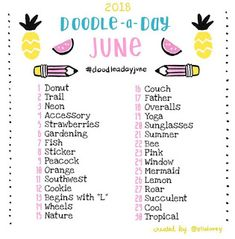 The Doodle a Day June list is here! Get out your art supplies and get creative! If you're new to the challenge, welcome! Feel free to jump in whenever you like! Use this list as your daily drawing inspiration. Be sure to tag your doodles with 30 Day Drawing Challenge, 30 Day Challenge, Challenge Ideas, Art Journal Challenge, Journal List, Drawing Ideas List, Drawing Tips, Creative Drawing Ideas, Creative Art