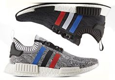 The adidas NMD R1 Primeknit is back in a new Tri-Color Pack featuring red…