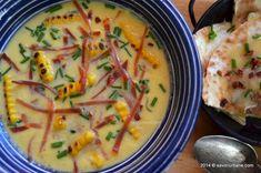 """Supa crema de porumb este foarte populara in Statele Unite, reteta fiind cunoscuta drept """"Corn Chowder"""". Americanii o fac cu porumb din conserva dar cel mai Corn Chowder, Cheeseburger Chowder, Thai Red Curry, Mashed Potatoes, Meals, Cooking, Ethnic Recipes, Food, Meal Ideas"""