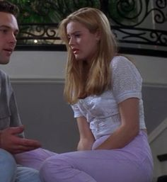 """This eyelet top with lavender jeans combo is highly underrated. 