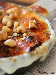 Roasted Provolone Cheese dip with Walnuts and Sourdough Bread...oh my ...