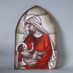 Catholic Art, Religious Art, Holding Baby, Glass Artwork, Spiritual Gifts, Baby Jesus, Opaline, Our Lady, Decorative Items