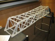"""A meter long straw bridge my team built for our """"Do you want to be an Engineer?"""" class at Brown University Pre-college. The bridge weighed 300 grams but managed to hold over 10 kilograms of weights. Straw Crafts, Diy Straw, Straw Bridge, Grade 3 Science, Engineering Science, Science Experiments, Bridge Construction, Math Stem, Architectural Engineering"""