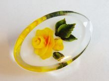 Yellow Rose Reverse-Carved Vintage 1960's Lucite Flower Pin Brooch  $18 - 1/3 OFF, now $12   http://www.rubylane.com/item/676693-J511/Yellow-Rose-Reverse-Carved-Vintage