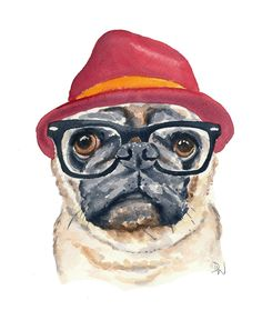 Hipster pug card by Deidre Wicks.