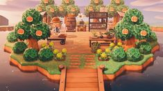 """""""decided to have a go at the floating island that i've seen several people do, so i created a peach farm! Animal Crossing 3ds, Animal Crossing Villagers, Animal Crossing Qr Codes Clothes, Animal Games, My Animal, Farm Animals, Cute Animals, Barrel Fountain, Floating Island"""