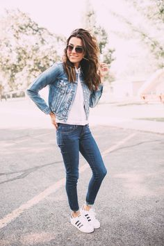 denim jacket over denim skinnies