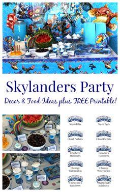 Skylanders Party Ideas  Decor and themed food ideas plus free printable AD