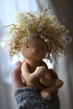love the hair and bent arms and legs--- baby spring elf - Ladybird Doll Studio