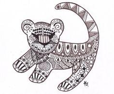 Simba encre dessin Estampe Art abstrait Disney par FuzzyLlamas
