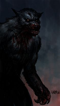 Horror fans Community, if you dare ! Dark Fantasy Art, Dark Art, Mythological Creatures, Fantasy Creatures, Mythical Creatures, Arte Horror, Horror Art, Werewolf Art, Comic Art