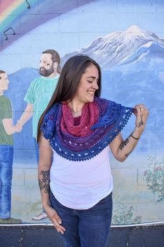 As we stitch our way toward June, we begin to celebrate Pride month. The bisexual pride flag was first unveiled on December 5th, 1998, designed by Michael Page to represent attraction to the same and different genders. This became the official symbol for the bisexual movement. Each Both is Good Shawl kit comes with a limited edition Pride pin and 200 yards each of Madelinetosh Tosh Sock along with a download code for the Both is Good Shawl designed by Adrienne Anila. Crochet Shawl, Knit Crochet, 200 Yards, Human Rights Campaign, Hope Symbol, Bisexual Pride, Pride Flag, Rainbow Flag, Shawls