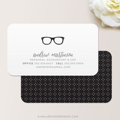 Nerd Glasses Accountant CPA Business Card / Calling Card / Mommy Card ©MalloryHopeDesign.Etsy.com