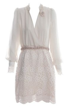 Apricot+Long+Sleeve+Hollow+Embroidery+Dress+$75