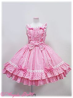 Sweet Lolita Detailing — Angelic Pretty - Mary Gingham JSK in Pink. Baby Dress Design, Baby Girl Dress Patterns, Frock Design, Frocks For Girls, Little Girl Dresses, Girls Dresses, Flower Girl Dresses, Cute Dresses, Vintage Dresses