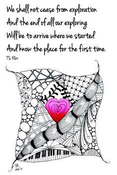 Valentine Zentangle with quote T.S. Eliot